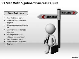 3D Man With Signboard Success Failure Ppt Graphics Icons Powerpoint