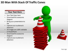 3D Man With Stack Of Traffic Cones Ppt Graphics Icons Powerpoint