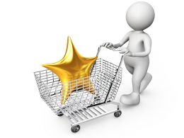 3D Man With Star In Cart Stock Photo
