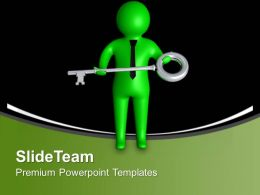 3d Man With Success Key Business PowerPoint Templates PPT Themes And Graphics 0213