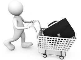 3D Man With Suitcase In Cart Stock Photo