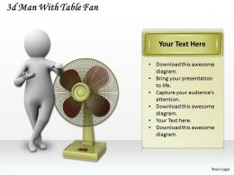 3d Man With Table Fan Ppt Graphics Icons Powerpoint
