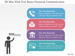 3d Man With Text Boxes Financial Communication Flat Powerpoint Design