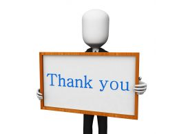 3D Man With Thank You Text Board Stock Photo