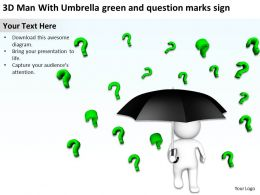 3D Man With Umbrella green and question marks sign Ppt Graphics Icons
