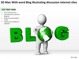 3D Man With word Blog illustrating discussion internet sites Ppt Graphics Icons