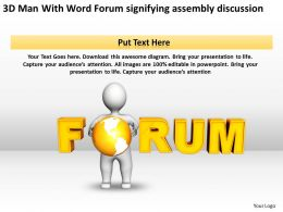 3D Man With Word Forum signifying assembly discussion Ppt Graphics Icons