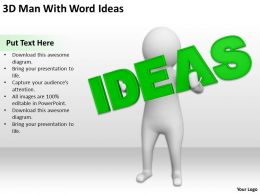 3D Man With Word Ideas Ppt Graphics Icons Powerpoint