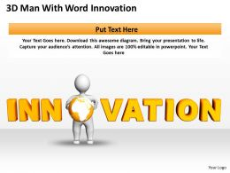 3D Man With Word Innovation Business Development Ppt Graphics Icons