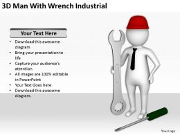 3D Man With Wrench Industrial Ppt Graphics Icons Powerpoin