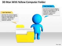 3D man with yellow Computer Folder Ppt Graphics Icons