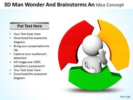3D Man Wonder And Brainstorms An Idea Concept Ppt Graphics Icons