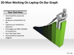 3D Man Working On Laptop On Bar Graph Ppt Graphics Icons Powerpoint