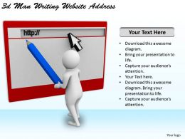 3d Man Writing Website Address Ppt Graphics Icons Powerpoint