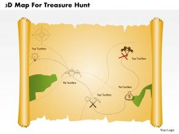 3d Map For Treasure Hunt Powerpoint Template