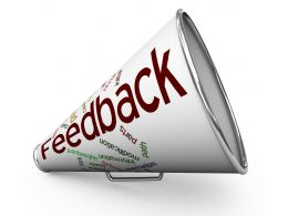 3D Megaphone With Feedback Text Stock Photo