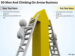 3D Men And Climbing On Arrow Business Ppt Graphics Icons Powerpoint