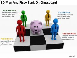3D Men And Piggy Bank On Chessboard Ppt Graphics Icons Powerpoin