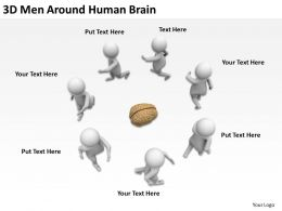 3D Men Around Human Brain Ppt Graphics Icons