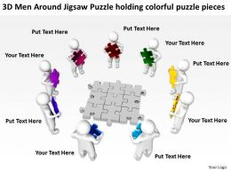 3D Men Around Jigsaw Puzzle holding colorful puzzle pieces Ppt Graphic Icon