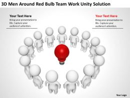 3D men around red bulb Team work unity solution Ppt Graphics Icons
