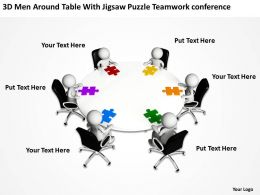 3D Men Around Table With Jigsaw Puzzle Team work conference Ppt Graphics Icons