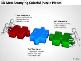 3D Men Arranging Colorful Puzzle Pieces Ppt Graphics Icons