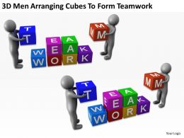 3D Men Arranging Cubes To Form Teamwork Ppt Graphics Icons Powerpoint
