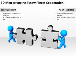 3D Men arranging Jigsaw Pieces Cooperation Ppt Graphics Icons