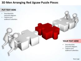3d Men Arranging Red Jigsaw Puzzle Pieces Ppt Graphics Icons Powerpoint
