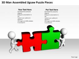 3D Men Assembled Jigsaw Puzzle Pieces Business Issues Ppt Graphics Icons