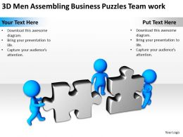 3D Men Assembling Business Puzzles Team work Ppt Graphics Icons