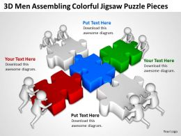 3D Men Assembling Colorful Jigsaw Puzzle Pieces Ppt Graphics Icons Powerpoint