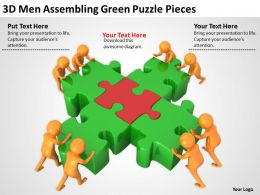 3D Men Assembling Green Puzzle Pieces Ppt Graphics Icons Powerpoint