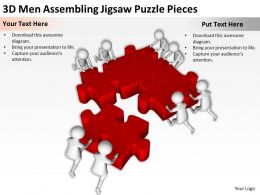 3D Men Assembling Jigsaw Puzzle Pieces Ppt Graphics Icons Powerpoin