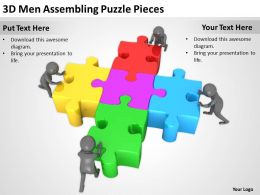 3D Men Assembling Puzzle Pieces Ppt Graphics Icons PowerPoint