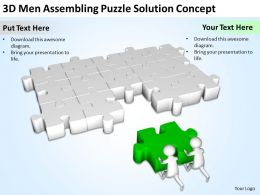 3D Men Assembling Puzzle Solution Concept Ppt Graphics Icons Powerpoint