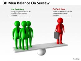 3D Men Balance On Seesaw Ppt Graphics Icons
