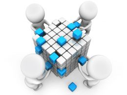 3D Men Building Cube Shows Teamwork Stock Photo