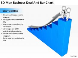 3D Men Business Deal And Bar Chart Ppt Graphics Icons Powerpoint