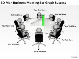 3D Men Business Meeting Bar Graph Success Ppt Graphics Icons