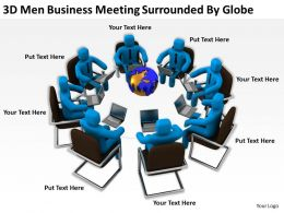 3D Men Business Meeting Surrounded By Globe Ppt Graphics Icons Powerpoint