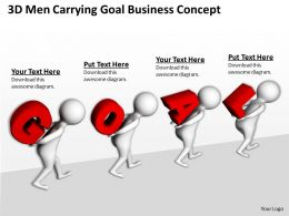 3D Men Carrying Goal Business Concept Ppt Graphics Icons Powerpoint
