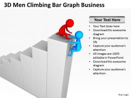 3D Men Climbing Bar Graph Growth Ppt Graphics Icons Powerpoint