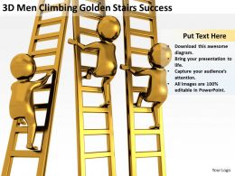 3D Men Climbing Golden Stairs Success Ppt Graphics Icons Powerpoin