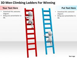 3D Men Climbing Ladders For Winning Ppt Graphics Icons Powerpoint