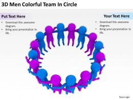 3D Men Colorful Team In Circle Ppt Graphics Icons Powerpoint