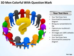 3D Men Colorful With Question Mark Ppt Graphics Icons