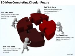3D Men Completing Circular Puzzle Ppt Graphics Icons Powerpoint