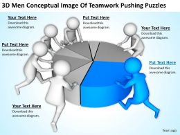 3D Men Conceptual Image Of Teamwork Pushing Puzzles Ppt Graphics Icons Powerpoin